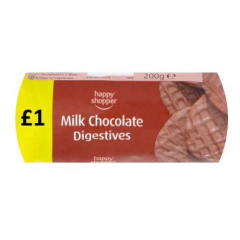 Milk Chocolate Digestives Biscuits Happy Shopper 200g (1 Pack)
